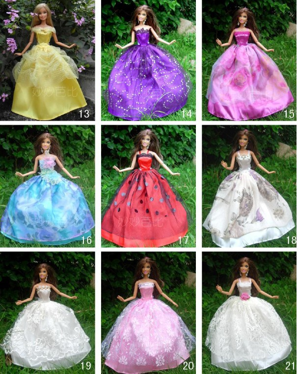 30items 10dress 10 shoes 10accessories Party Doll s Dress Clothes Gown For Barbie doll