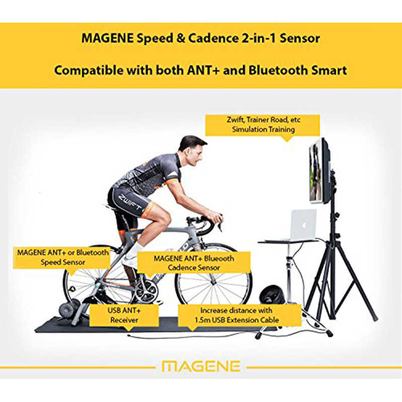 Magene DUAL BAND Wireless Bike Speed Sensor &Cadence Sensor for Bike  Computer Trainer IPhone Android and USB ANT+ Bike Stopwatch