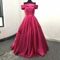 Bateau Evening Dresses Off the shoulder Floor length Fuchsia Satin Custom Made Prom Dresses