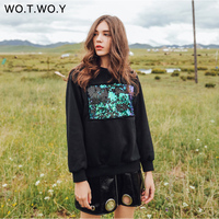 WOTWOY Reflected Sequins Casual Sweatshirt Women Cotton O Neck Black Hoodies Long Sleeve Pullover Women Autumn