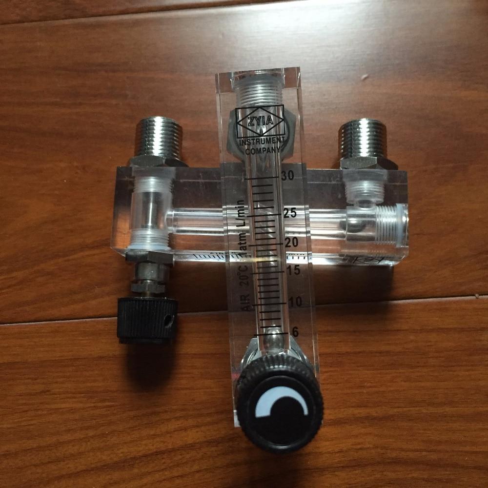LZM-6T 2-20LPM/4-40SCFH panel type acrylic flowmeter(flow meter) with adjust valve bass fitting Female G1/4 Male M18*1.5