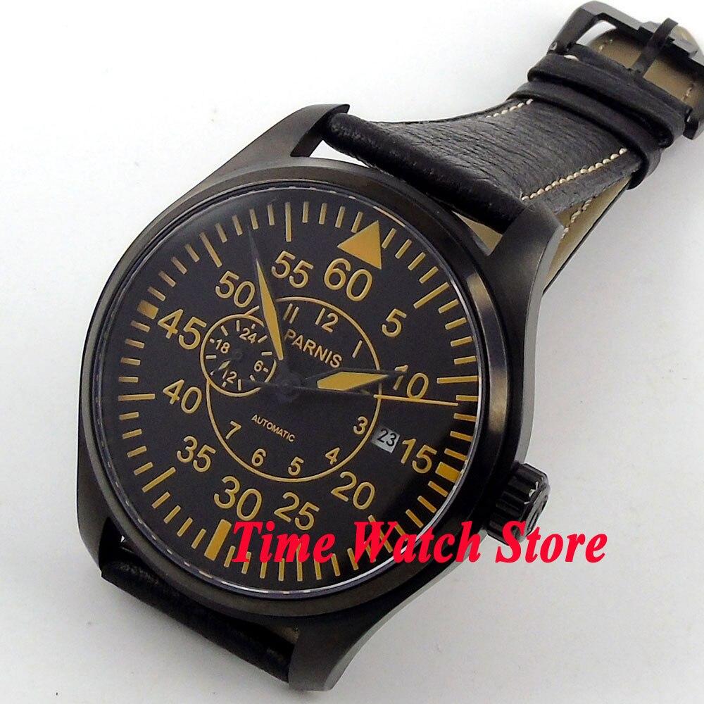 Parnis 44mm cadran noir marques orange verre saphir lumineux boîtier PVD miborough montre pour hommes automatique montre-bracelet 617