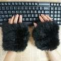 UNISEX  WINTER WARM STYLISH FASHION WOMENS CUTE KNITTED GENUINE RABBIT FUR COMPUTER GLOVES BRACER CUFF REAL FUR WRISTER MITTENS