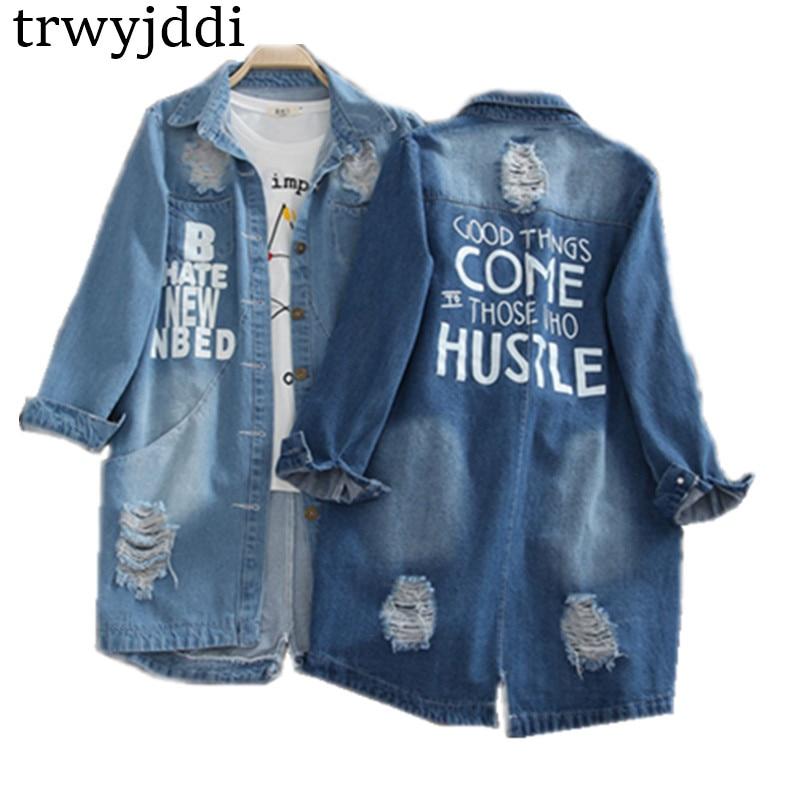 Plus Size S-8XL 2019 Denim Jackets Women Hole Long Sleeve Vintage Jean Jacket Denim Loose Spring Autumn Denim Coat Jean Hl101
