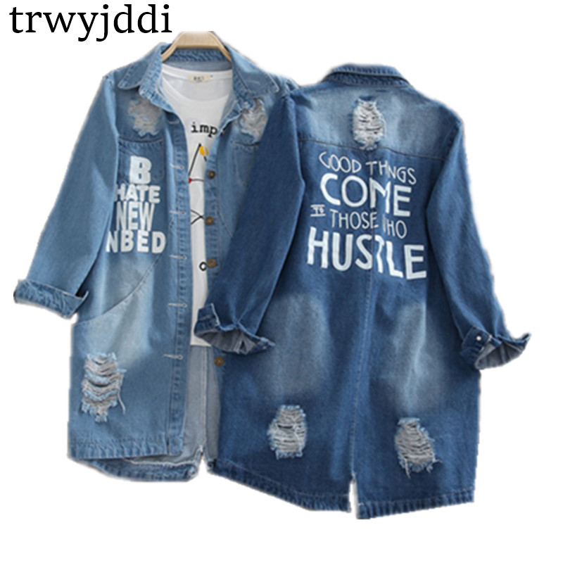 Plus Size S-8XL 2019 Denim Jackets Women Hole Long Sleeve Vintage Jean Jacket Denim Loose Spring Autumn Denim Coat Jean Hl101