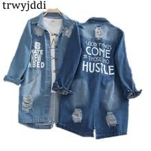 Plus Size S-8XL 2019 Denim Jackets Women Hole Long Sleeve Vintage Jean jacket Loose Spring Autumn Coat hl101