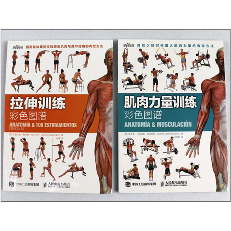 2/PCS Muscle Strength Training + Stretching Training Color Map Exercise Fitness Muscle Stretching Books Science Movement