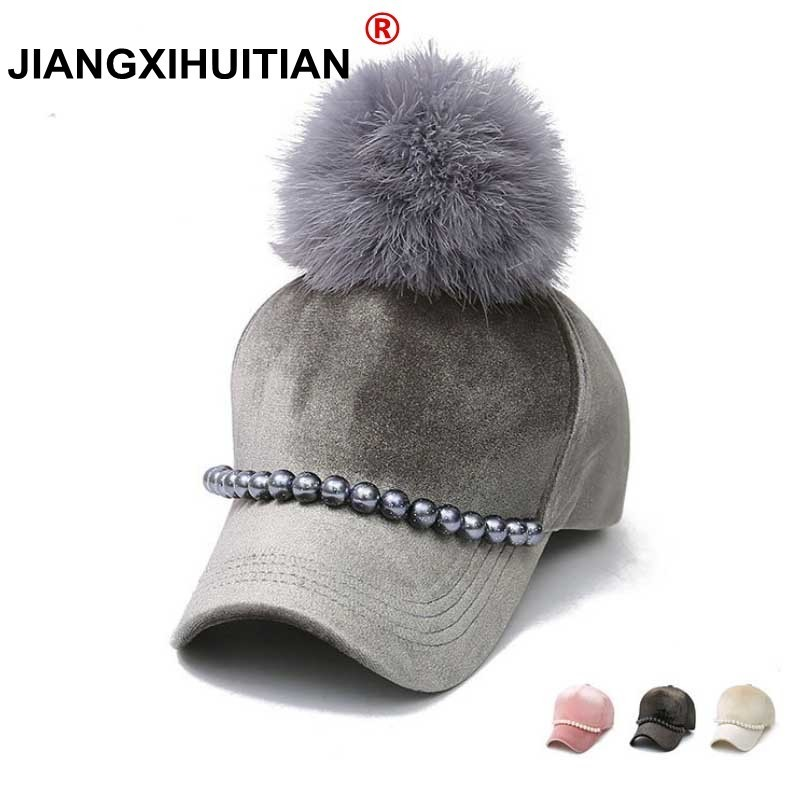 a4aec3690 new Fashion real mink pom poms wool Pearl decoration baseball cap snapback  hat Fedoras hat fitted ...
