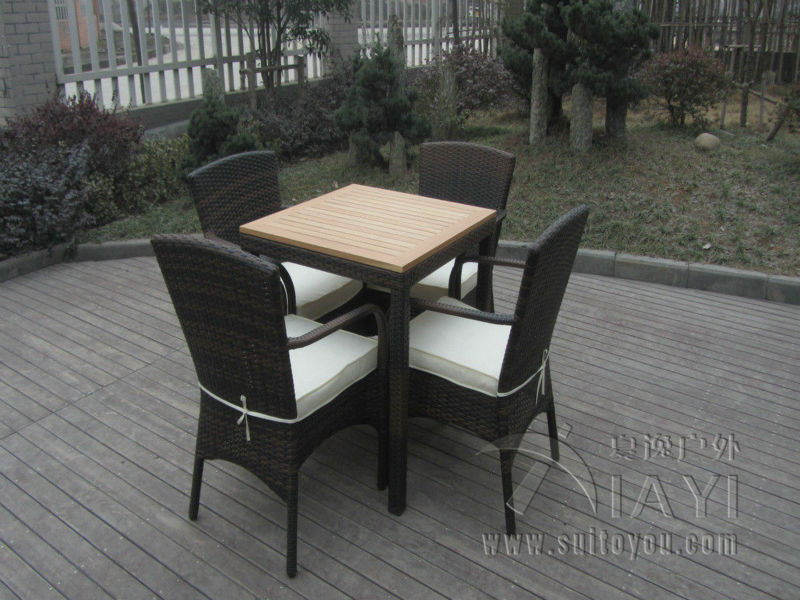 5 pcs Excellent Strong Hand-Woven Dark Brown Rattan Garden Dining Sets transport by sea hand woven brown resin wicker rocking chair for outdoor garden transport by sea