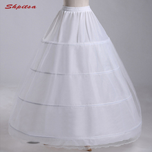 白 4 フープペチコート結婚式のための夜会服女性アンスコクリノリンふわふわ pettycoat フープスカート