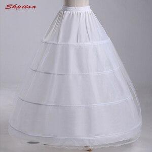 Image 1 - Biały 4 obręcze halki na piłka ślubna suknia kobieta podkoszulek krynoliny Fluffy Pettycoat Hoop spódnica