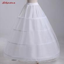 Blanco 4 enagua con aros para boda vestido de baile mujer Underskirt Crinoline Fluffy Pettycoat Hoop Skirt
