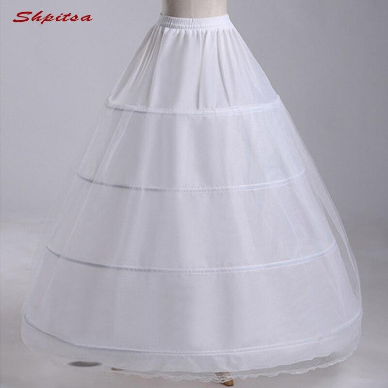 White 4 Hoops Petticoats For Wedding Ball Gown Woman Underskirt Crinoline Fluffy Pettycoat Hoop Skirt
