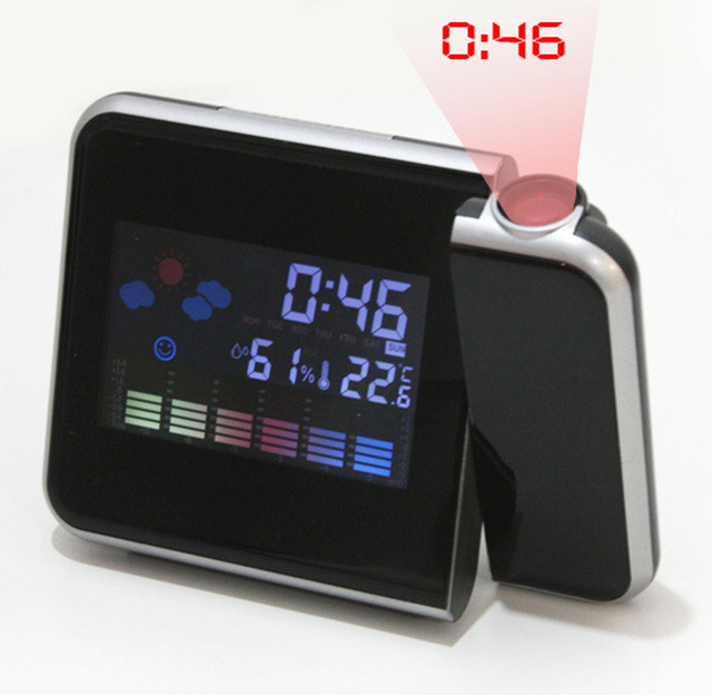 Fashion Attention Projection Digital Weather LCD Snooze Alarm Clock Projector Color Display LED Backlight