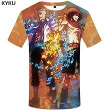 66269fcb KYKU One Piece T shirt Men Luffy Shirt Print Flame Tshirt Printed Yinyang  Anime Clothes War