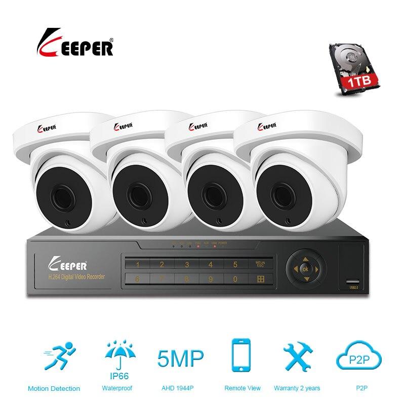 Хранитель 4CH 5MP AHD DVR комплект видеонаблюдения Камера Системы 4 шт. 5.0mp безопасности Камера IP66 наружного видеонаблюдения Системы APP вид