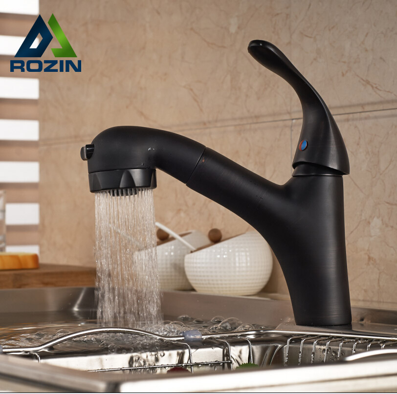 Luxury Single Lever Pull Out Sprayer Kitchen Mixer Faucet Deck Mount One Hole Oil Rubbed Bronze