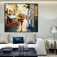 Cityscape painting canvas Painting Wall art pictures for living room home decor street scenery city art quadros caudros decor