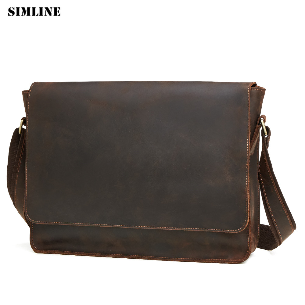 SIMLINE Genuine Leather Men Messenger Bag Crazy Horse Real Cowhide Male Vintage Tote Shoulder Crossbody Bags Handbag For Laptop simline vintage genuine crazy horse leather cowhide men large capacity travel duffle bag shoulder luggage bags handbag for men