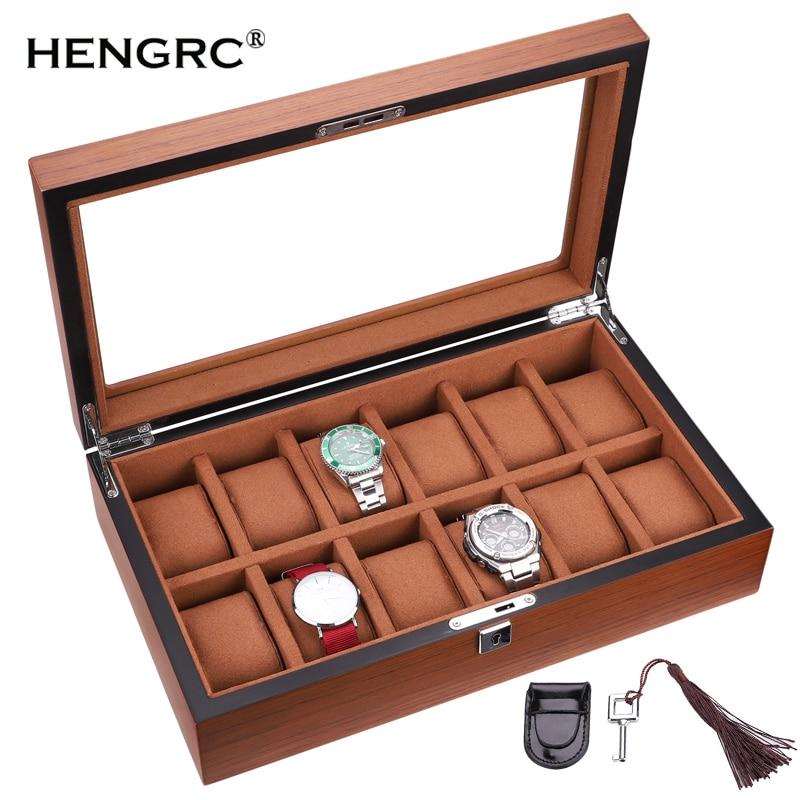 Boîte de montre rectangulaire en bois 12 grilles de haute qualité boîte à bijoux pour dames
