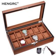 Caja de reloj Rectangular de madera de 12 rejillas de alta calidad caja de joyería para mujer caja de reloj