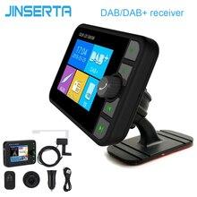 JINSERTA جهاز إرسال FM صغير DAB ، مستقبل راديو ملون ، بلوتوث ، هوائي MCX ، موصل صوت 3.5 مللي متر ، موالف DAB ، متوافق مع TF