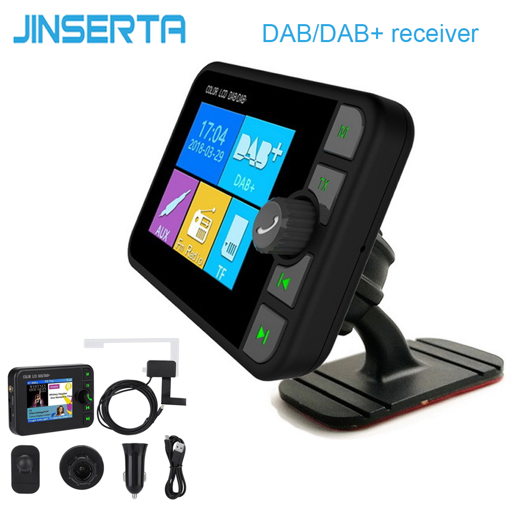 JINSERTA Mini DAB Radio Receiver Colorful TFT Bluetooth FM Transmitter+MCX Antenna 3.5mm Jack Audio Output DAB Tuner Support TF