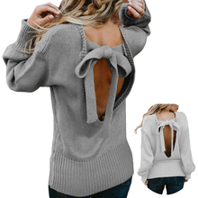 Bow Tie Backless Sweater Fashion 2018 Women Winter Angora Knitting Pullovers New Long Sleeve Black Off Shoulder