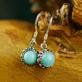 Natural Amazonite Earring 925 Silver Women Vintage Blue Stone S925 Thai Sterling Silver boucle d'oreille Drop Earrings