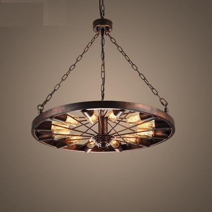 Creative Loft Style Wheel Vintage Pendant Light Fixtures Antique Industrial Lamp Hanging For Dining Room Indoor Lighting creative loft style iron cage vintage pendant light fixtures antique industrial lamp hanging for dining room indoor lighting