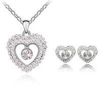 Btime Original Crystal Heart Necklace Earrings Jewelry Sets Women Brand Silver Plate European Style Crystals From Swarovski