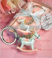 500pcs Lot Party Wedding Children Gift Favors Valentine S Rocking Horse Key Chain Keychain Pink Blue