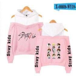Korean Fashion KPOP Stray Kids Hoodie Women Long Sleeve Off-Shoulder Hooded Sweatshirts Harajuku Tracksuit Streetwear Clothes 5