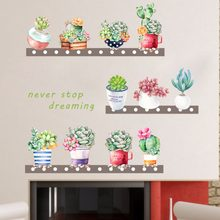 % Succulents Cactus Pot Plant flowers DIY Wall Sticker Living room Nursery Sofa Background Wall Mural Art Vinyl Removable Poster(China)