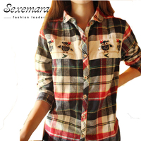 Noctua Red News Embroidery Plaid Shirts In Cage Ladies Fashion Women Blouses Tops Shirts 2016 Hot