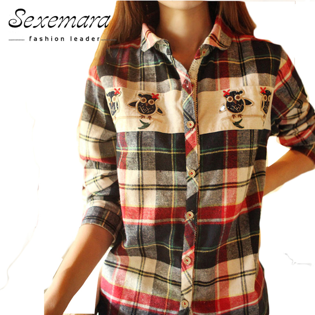 Noctua red news embroidery plaid shirts  in cage ladies fashion women blouses tops shirts 2017 hot sale  summer long sleeve