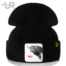New Animal Beanie Hat BULL Embroidered Brand Casual Beanie For Men Women Knitted Winter Hat Solid Hip-hop Hat Unisex Bonnet Cap цена