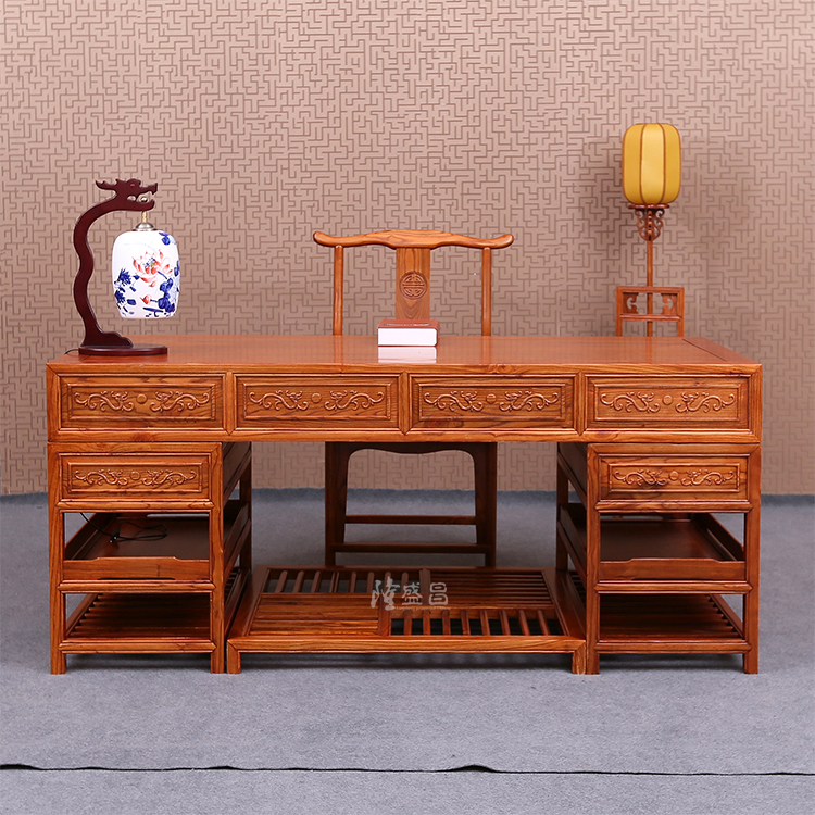 chinese writing desk Chinese hardwood desk, with 4 drawers and glass top, 122 cm wide, 66 cm deep ,  chinese hardwood bureau desk, the fall front writing surface revealing a.