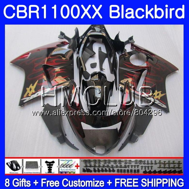 Fairing For HONDA Blackbird CBR1100 XX CBR 1100XX Red flames 02 03 04 05 06 07 76HM.14 CBR1100XX 2002 2003 2004 2005 2006 2007