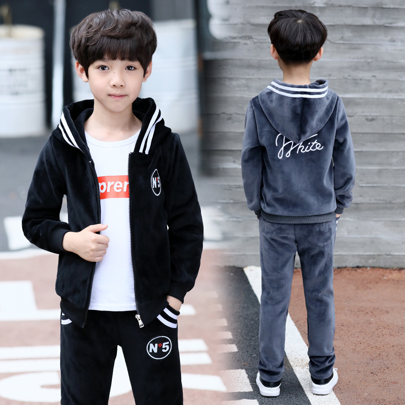 FYH Kids Clothes Boys Spring Autumn Set Teenagers Boys Casual Suit 2pc Hooded Coat+Pants Children Sports Suit Sets Gold Velvet spring autumn vestidos tracksuit girls sports suit kids fashion hooded sportwear children track suit clothes set casual outfit