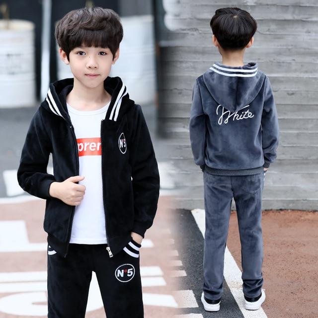 FYH Kids Clothes Boys Spring Autumn Set Teenagers Boys Casual Suit 2pc Hooded Coat+Pants Children Sports Suit Sets Gold Velvet