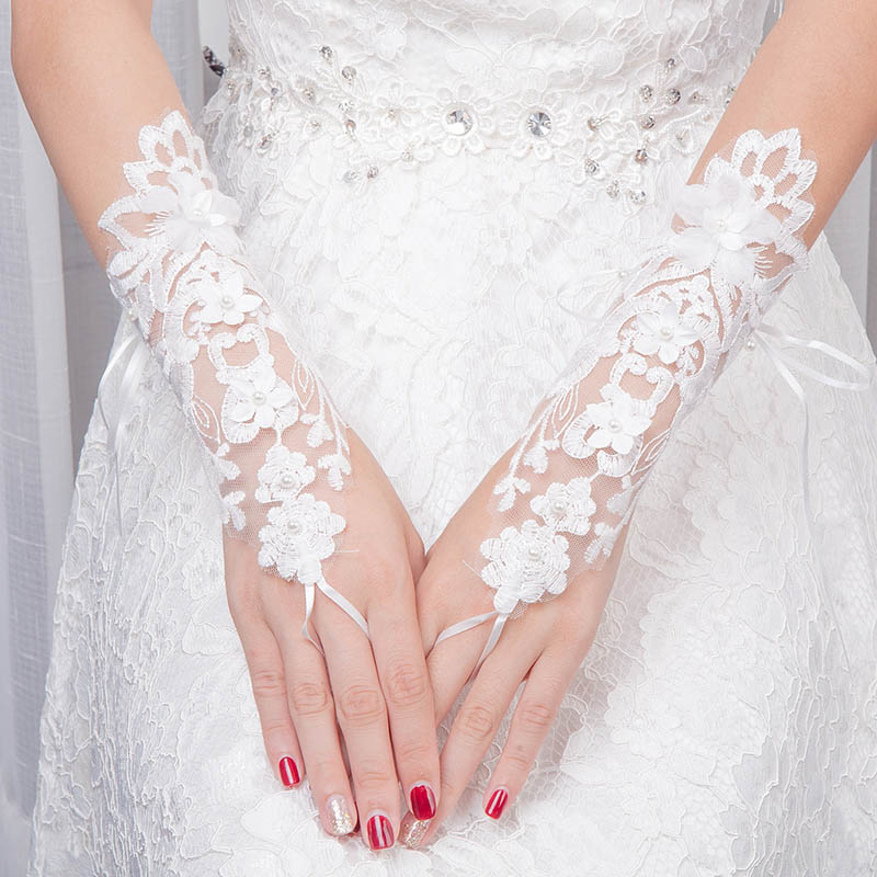1 Pair 5 Style White Rhinestone Beaded Lace Flower Bridal Gloves Dew Fingerless Short Wedding Gloves For Bride Accessories VL