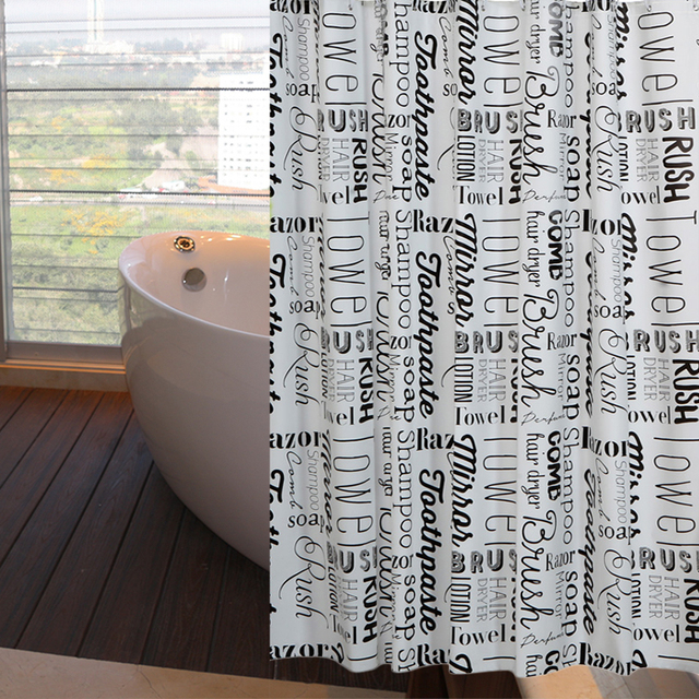 Rubihome Shower Curtain For Bathroom Peva Thicken Waterproof Decor Black Word Letter With Hooks