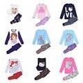 Muchos estilo muchachas de los cabritos bebé Sofia Princess & pony pijamas ropa niños ropa de manga larga set ropa de noche / camisón 2 unids conjuntos