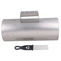 Yibuy 13 Length Stainless Steel Guiro with Scraper Latin Percussion Musical Training Instrument