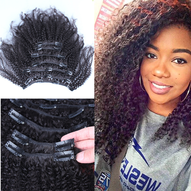 Afro Kinky Curly Clip In Human Hair Extensions Malaysian Kinky Curly
