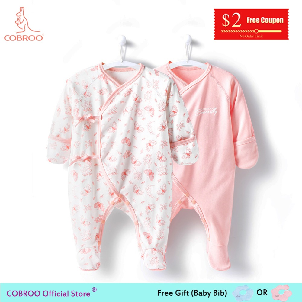 COBROO Newborn Baby Girl Clothes footies 0-3 Month 100% Cotton Butterfly 2018 Infant Boy Jumpsuit NY150072