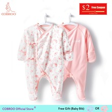 COBROO Newborn Baby Girl Clothes footies 0-3 Month 100% Cotton Butterfly 2018 Infant Girl Boy Jumpsuit Baby footies NY150072 picturesque childhood new born baby boy clothes 3 1 covered buttono neck footies pajamas original cotton hot sale