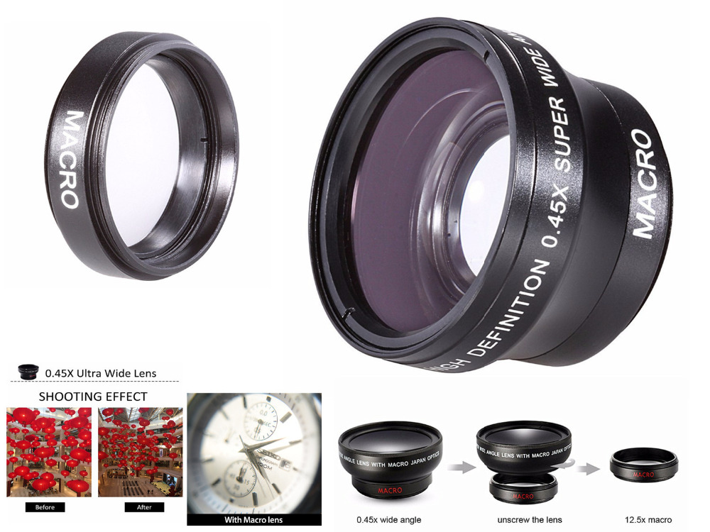 37mm 0.45X Super Wide Angle Lens w/ Macro for Olympus OMD EM10 II OM-D E-M10 / Mark I II III 1 2 3 with 14-42mm Lenses