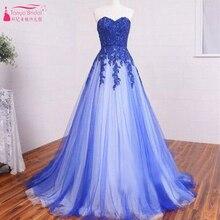 Royal Blue Abendkleider 2016 Spitze Tulle Elegante Abendkleider gelinlik Kleider Lange homecoming Guraduation Kleid Z413